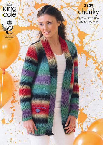 Cardigan and Waistcoat in King Cole Riot Chunky (3959)