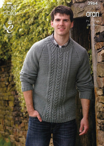 Cabled Sweater and Hoodie in King Cole Fashion Aran (3964)