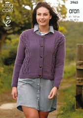 Cable Front Cardigans in King Cole Fashion Aran (3965)