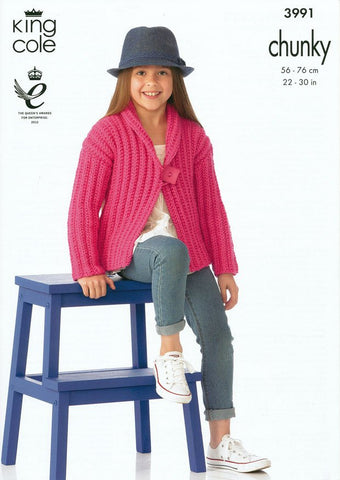 Girls Jacket in King Cole Comfort Chunky (3991)