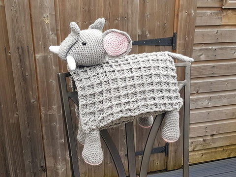 3 in 1 Safari Elephant Baby Blanket Toy Lovey Crochet Kit and Pattern in Scheepjes Yarn