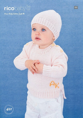 Sweater and Hat in Rico Design Baby Cotton Soft DK (401)