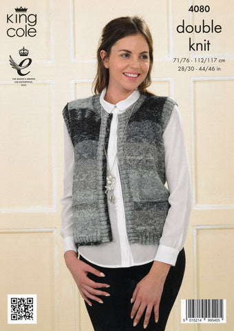 Edge to Edge Cardigan and Waistcoat in King Cole Shine DK (4080)