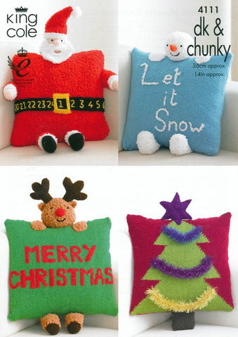 Christmas Novelty Cushions in King Cole DK & Chunky (4111)