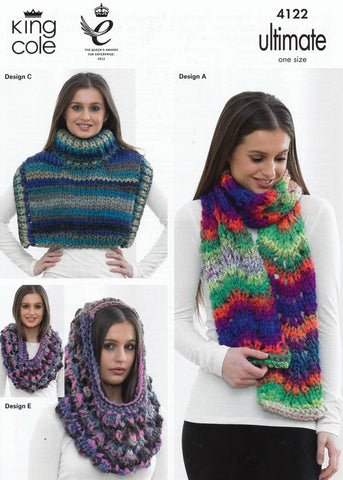 Chevron Scarf, Shoulder Wraps, Cowl and Slouchy Hat in King Cole Ultimate Super Chunky (4122)