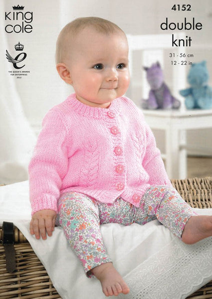 Baby Cardigans in King Cole Baby DK (4152)