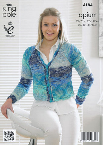 V and Round Neck Cardigans in King Cole Opium Palette (4184)
