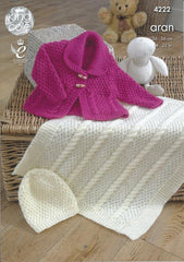 Jacket, Blanket and Hat in King Cole Comfort Aran (4222)