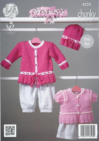 Pinafore Dress, Cardigans and Hat in King Cole Comfort Chunky (4225)
