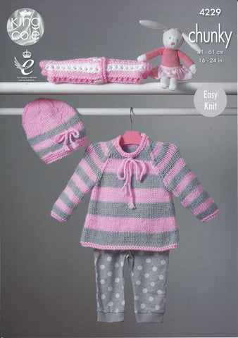 Cape Style Sweater, Hat and Cardigan in King Cole Comfort Chunky (4229)