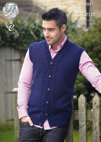 Waistcoat and Sweater in King Cole Fashion Aran (4241)