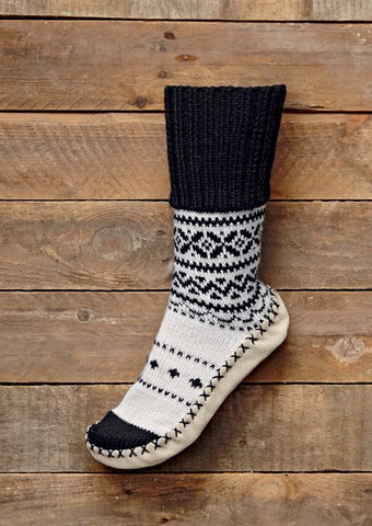 Jacquard Slipper Socks with Lapel in Bergere de France (428.09)