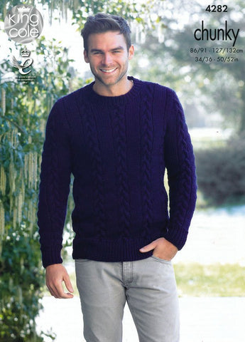 Mens Sweater and Slipover in King Cole Magnum Chunky (4282)