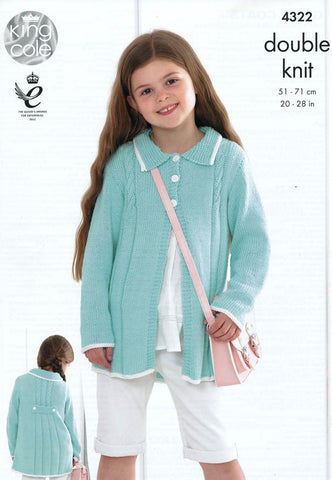 Girls' Coats in King Cole Bamboo Cotton DK (4322)
