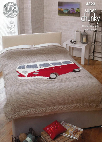 Camper Van Bed Throws in King Cole Super Chunky (4323)