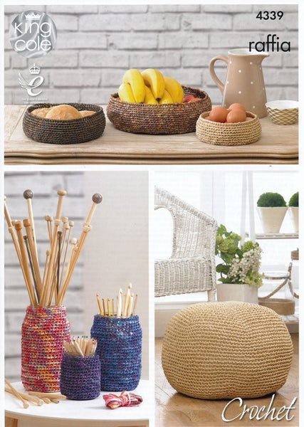 Crocheted Storage Bowls, Jar Covers and Pouffe in King Cole Raffia (4339)
