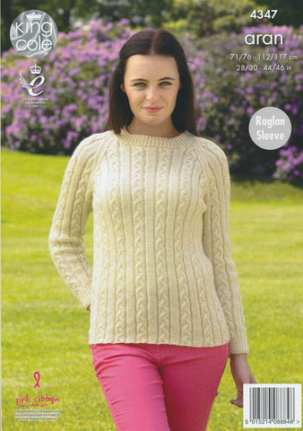 Cardigan and Sweater in King Cole Fashion Aran (4347)