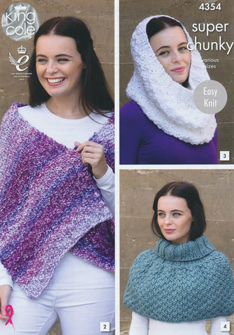 Scarf, Shoulder Wrap, Snood, Polo Shoulder Cover, Hat and Wrist Warmers in King Cole Big Value Super Chunky and Tints (4354)