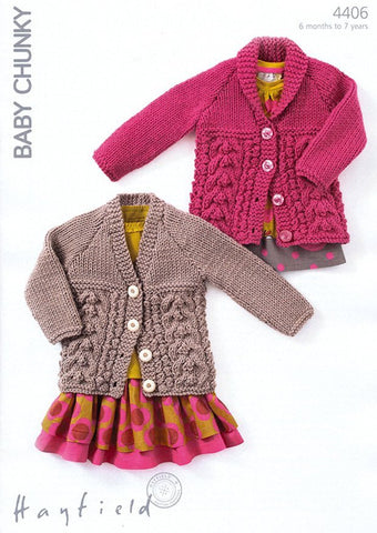 Cardigans in Hayfield Baby Chunky (4406)