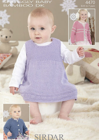 Pinafore and Cardigans in Sirdar Snuggly Baby Bamboo DK (4470)