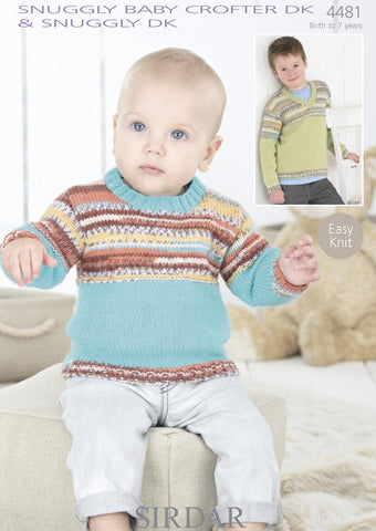 Boys Round Neck and V-Neck Sweaters in Sirdar Snuggly Baby Crofter DK & Snuggly DK (4481)