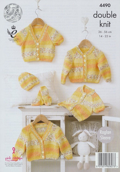 Raglan Cardigans, Hat and Socks in King Cole Drifter DK for Baby (4490)
