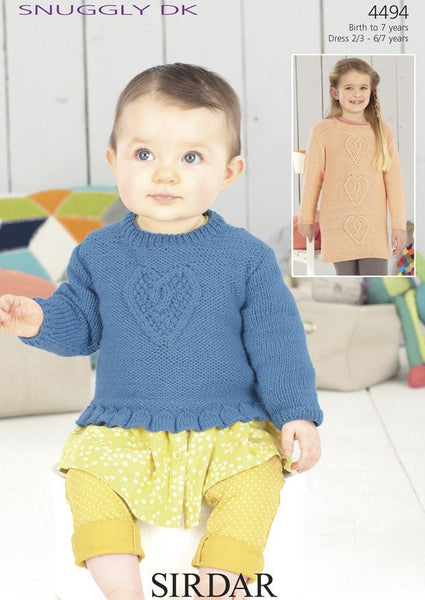 Girls Standard Length and Long Length Sweater in Sirdar Snuggly DK (4494)