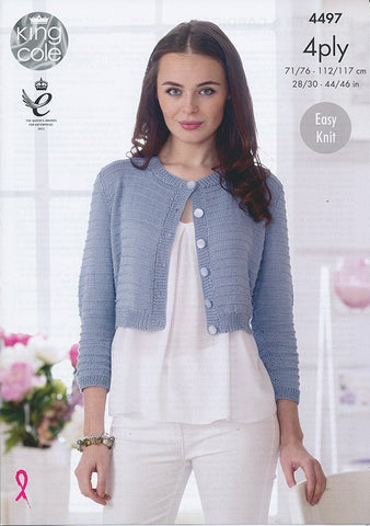 Sweater and Cardigan in King Cole Giza Cotton 4 Ply (4497)