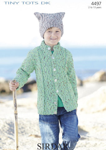 Boys Cable Cardigan and T-Bag Hat in Sirdar Tiny Tots DK (4497)
