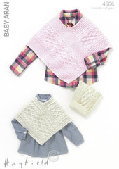 Girls Cable Poncho and Matching T-Bag Hat in Hayfield Baby Aran (4506)