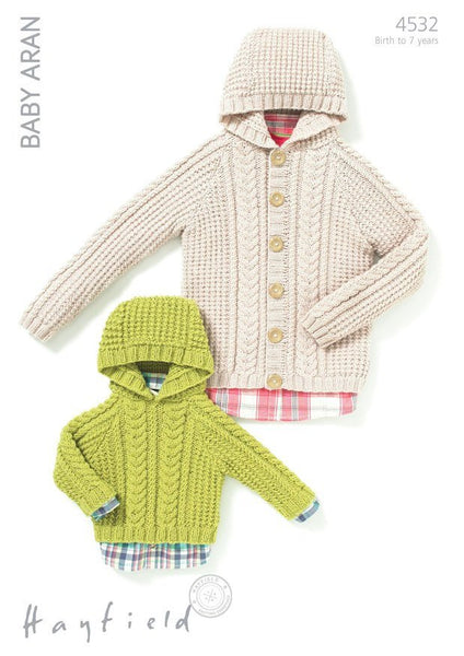 Babies & Boys Hooded Jacket and Sweater in Hayfield Baby Aran (4532)