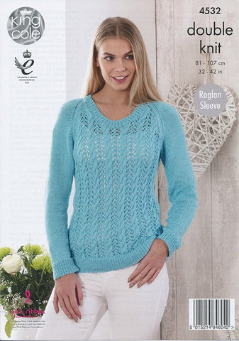 Sweater and Cardigan in King Cole Giza Cotton DK (4532)