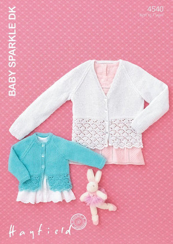 Babies & Girls Round and V Neck Cardigans in Hayfield Baby Sparkle DK (4540)