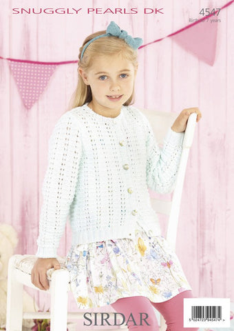 Girls Round Neck and Babies V Neck Cardigan in Sirdar Snuggly Pearls DK (4547)