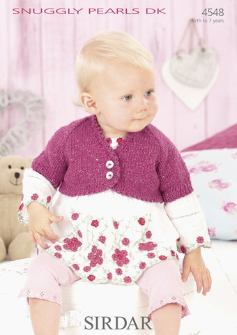 Girls Long Sleeved and Babies Short Sleeved Boleros in Sirdar Snuggly Pearls DK (4548)