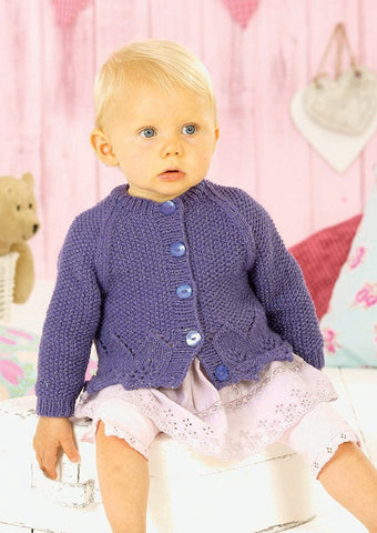 Girls V Neck and Round Neck Cardigans in Sirdar Snuggly Pearls DK (4550) - Digital Version