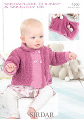 Babies and Girls Peter Pan Collared Jacket and Blanket in Sirdar Snowflake Chunky and Snuggly DK (4560)  - Digital Version