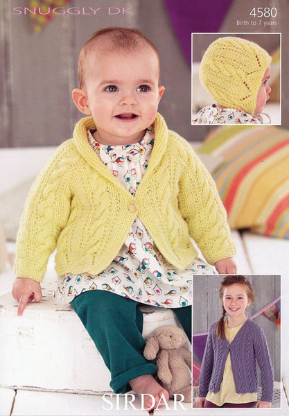 Girls Shawl Collared and V Neck Cardigans and Bonnet in Sirdar Snuggly DK (4580)