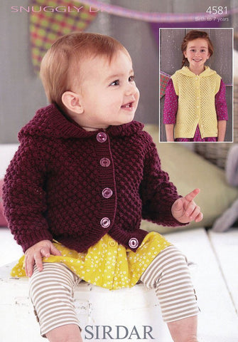 Girls Hooded Jacket and Waistcoat in Sirdar Snuggly DK (4581)