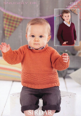 Boys Round Neck and V Neck Sweaters in Sirdar Snuggly DK (4583)