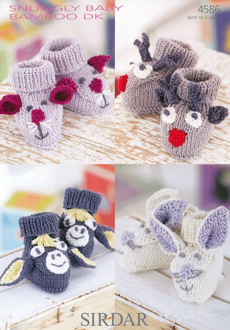 Mouse, Donkey, Rabbit and Reindeer Bootees in Sirdar Baby Bamboo DK (4586)
