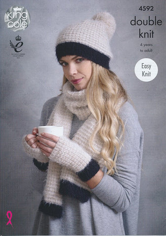 Snood, Hats, Mitts and Scarf in King Cole Embrace DK (4592)