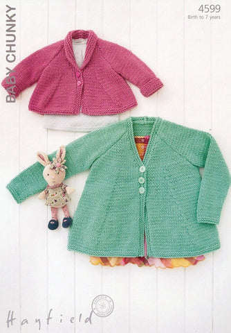 Girls Shawl Collared and V Neck Cardigans in Hayfield Baby Chunky (4599)