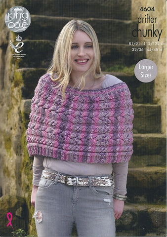 Ladies Capes in King Cole Drifter Chunky (4604)