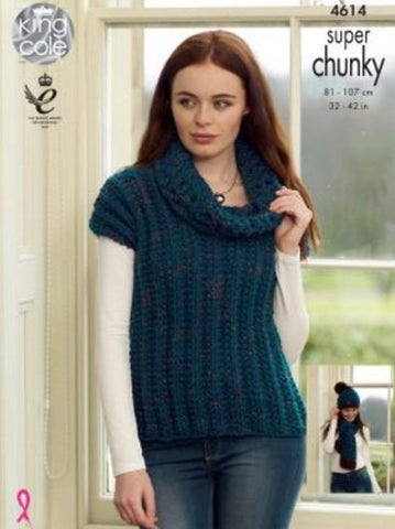 Sweater, Pullover, Hat and Scarf in King Cole Super Chunky Twist - Big Value (4614)