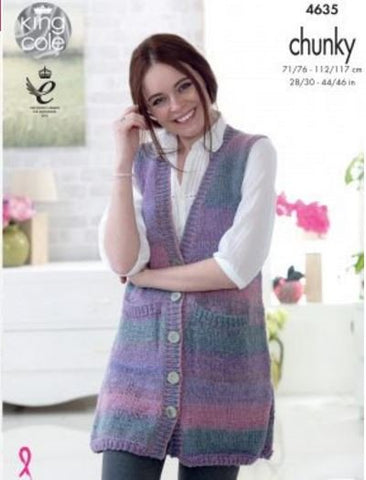 Lady's & Mans Waistcoats in King Cole Cotswold Chunky (4635)