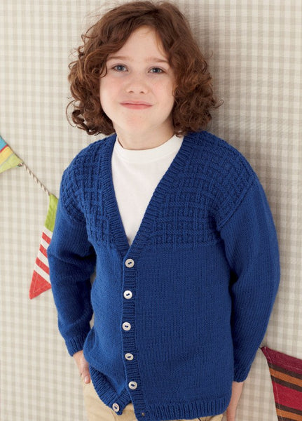 Babies and Boys V Neck Cardigans in Sirdar Snuggly DK (4657)