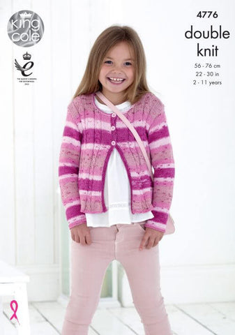 Girls Cardigans in King Cole Cottonsoft Crush DK (4776)
