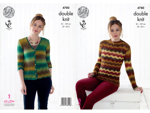 Sweater and Cardigan in King Cole Riot DK (4780)