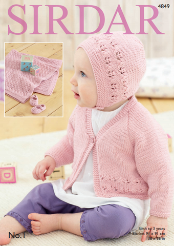 Cardigan, Bonnet, Shoes and Blanket in Sirdar No.1 (4849)